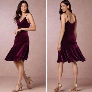 Anthropologie (Yoani Baraschi) Maroon Velvet Dress